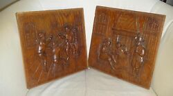 Two Old Dutch Antique High Relief Carved Oak Wood Furniture Panel Tavern Scene