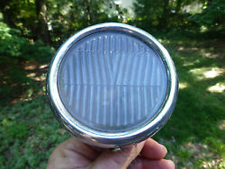 Antique Cowl Light With A Rounded Bezel And Glass Lens 3 7/8 Wide