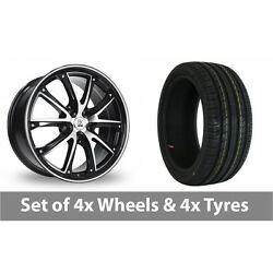 4 X 18 Bk Racing 201 Black Polished Alloy Wheel Rims And Tyres - 225/40/18