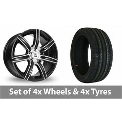 4 X 18 Bk Racing 808 Black Polished Alloy Wheel Rims And Tyres - 225/40/18