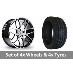 4 X 20 Bk Racing 170 Black Polished Alloy Wheel Rims And Tyres - 295/40/20