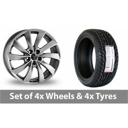 4 X 18 Wolfrace Lugano Shadow Chrome Alloy Wheel Rims And Tyres - 255/35/18