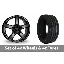 4 X 18 Wolfrace Emotion Black Alloy Wheel Rims And Tyres - 255/45/18
