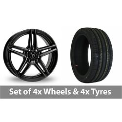 4 X 19 Wolfrace M10 Black Alloy Wheel Rims And Tyres - 225/35/19