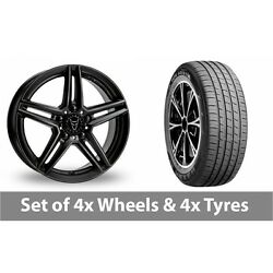 4 X 19 Wolfrace M10 Black Alloy Wheel Rims And Tyres - 255/45/19
