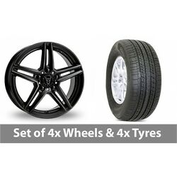 4 X 19 Wolfrace M10 Black Alloy Wheel Rims And Tyres - 255/50/19