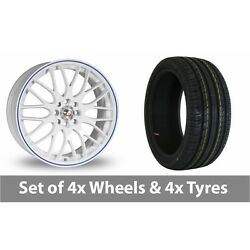 4 X 15 Calibre Motion 2 White Blue Alloy Wheel Rims And Tyres - 195/65/15