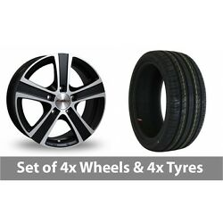4 X 17 Calibre Highway Black Polished Alloy Wheel Rims And Tyres - 215/50/17
