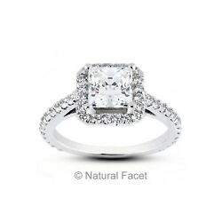 2.28ct Tw D/si2/ideal Radiant Certified Diamonds White Gold Cathedral Ring 1.8mm