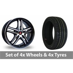 4 X 17 Axe Ex 5ive Black Polished Alloy Wheel Rims And Tyres - 215/40/17