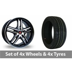 4 X 17 Axe Ex 5ive Black Polished Alloy Wheel Rims And Tyres - 245/45/17