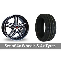4 X 17 Axe Ex 5ive Black Polished Alloy Wheel Rims And Tyres - 215/50/17