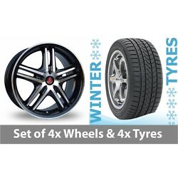 4 X 17 Axe Ex 5ive Black Polished Alloy Wheel Rims And Tyres - 215/65/17