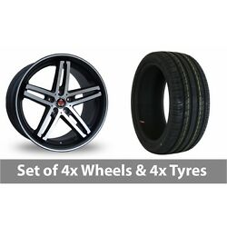 4 X 19 Axe Ex Black Polished Pinstripe Alloy Wheel Rims And Tyres - 225/40/19