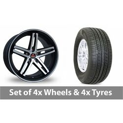 4 X 19 Axe Ex Black Polished Pinstripe Alloy Wheel Rims And Tyres - 255/50/19