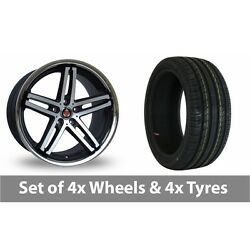 4 X 19 Axe Ex11 Black Polished Alloy Wheel Rims And Tyres - 245/45/19