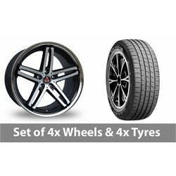 4 X 19 Axe Ex11 Black Polished Alloy Wheel Rims And Tyres - 255/55/19
