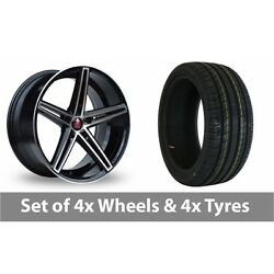 4 X 18 Axe Ex14 Black Polished Alloy Wheel Rims And Tyres - 225/45/18