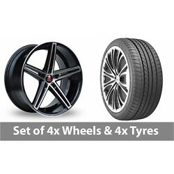4 X 20 Axe Ex14 Black Polished Alloy Wheel Rims And Tyres - 275/35/20