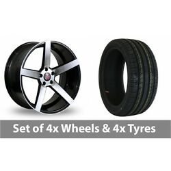 4 X 18 Axe Ex18 Black Polished Alloy Wheel Rims And Tyres - 215/35/18