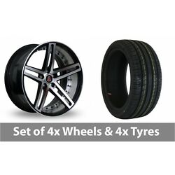 4 X 20 Axe Ex20 Black Polished Alloy Wheel Rims And Tyres - 225/30/20