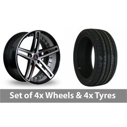 4 X 20 Axe Ex20 Black Polished Alloy Wheel Rims And Tyres - 255/30/20