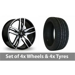 4 X 22 Axe Ex22 Black Polished Alloy Wheel Rims And Tyres - 265/35/22