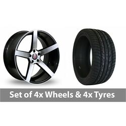 4 X 20 Axe Ex18 Black Polished Alloy Wheel Rims And Tyres - 255/45/20
