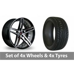 4 X 22 Axe Ex20 Black Polished Alloy Wheel Rims And Tyres - 245/30/22