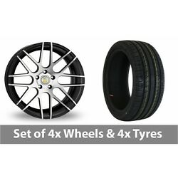 4 X 18 Cades Artemis Black Polished Alloy Wheel Rims And Tyres - 255/45/18