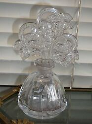 Signed Czech Perfume Bottle With Grapes Stopper