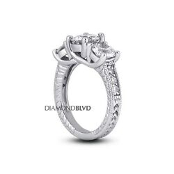 2.88ct ESI2Ex Round Earth Mined Diamonds Platinum Engraved Trellis Ring 11.5gr