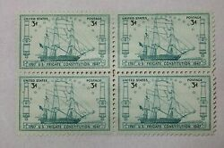 $0.03 Cents U.S. Frigate Constitution  1797-1947 Stamps Block of 4