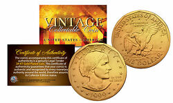 Susan B. Anthony U.s. 1 Dollar Coin Genuine 24k Gold Plated With Capsule And Coa