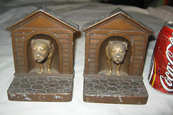 Antique Jb Jennings Brothers Usa Bull Dog 3-d Home House Art Statue Bookends 5lb