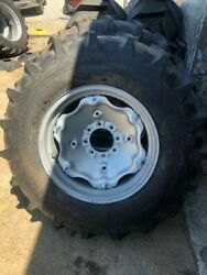 Four 14.9x24 John Deere, Ford 8 Ply Easy Repair Tractor Tires W/wheels And Centers