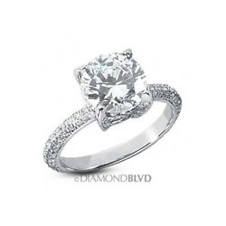3.21ct FSI2VG Round Earth Mined Diamonds Platinum Pave-Rows Classic Ring 5.9gr