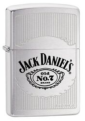 Zippo Jack Daniels No7 Brushed Chrome Gel. Color Lighter New In Box