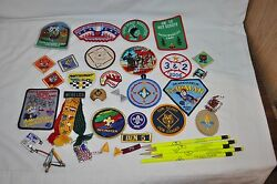 22 Cub Scout Patches Ribbons With Pins Neckerchief Slide +++ Assorted Lot