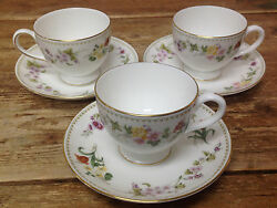 Mirabelle Wedgwood 3 Footed Cup Saucer Sets Bone China Floral Rim R4537 White