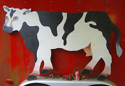 Country Home Plant Dairy Milk Cow Wood Art Sign Painting Farm Ice Cream Garden