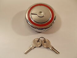 61 1961 White 1500-t Compact Gas Fuel Cap Locking Chrome Vintage Usa Made Stant
