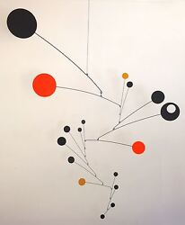 Black Yellow Orange Mobile Mid-century Modern Sculpture Retro Hanging Art