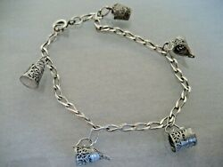 Vintage Sterling Silver Bracelet With Tiny Filigree Cups And Pitchers