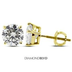 1.80ct H/si3/vg Round Earth Mined Diamonds 14k 4-prong Basket Mens Earrings 1.3g