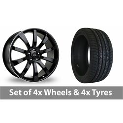 4 X 22 Riva Suv Black Polished Alloy Wheel Rims And Tyres - 265/35/22