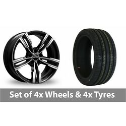 4 X 19 Gmp Italy Reven Black Polished Alloy Wheel Rims And Tyres - 225/40/19