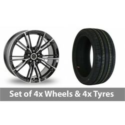 4 X 17 Ac Wheels Ff Black Polished Alloy Wheel Rims And Tyres - 215/50/17