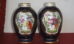 Rare Dr John Wall Period 18th C. Worcester Porcelain Two Cobalt Vases
