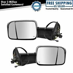Mirror Power Folding Heated Led Turn Signal Memory Chrome Towing Pair For Ram